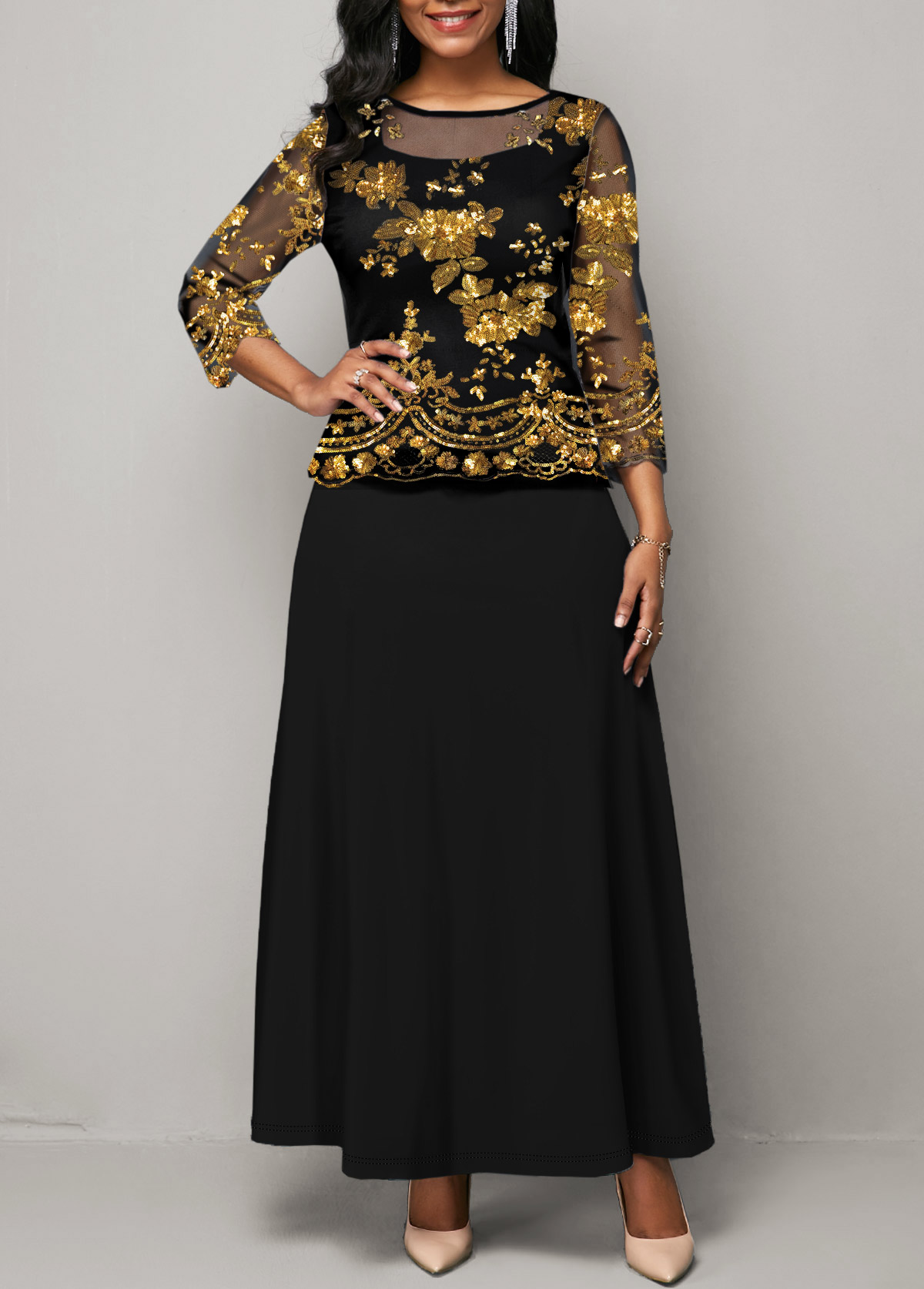 Three Quarter Sleeve Sequin Detail Mesh Panel Maxi Dress