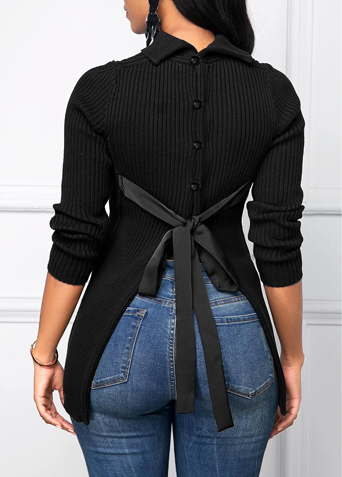 Tie Back Button Decorated Black Sweater