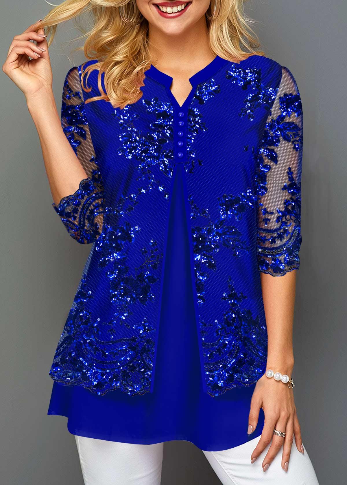 Split Neck Lace Panel Faux Two Piece T Shirt