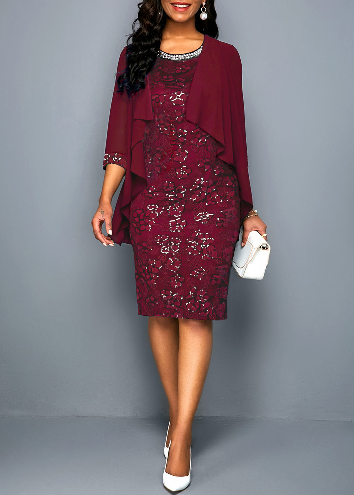 Wine Red Open Front Chiffon Cardigan and Lace Dress