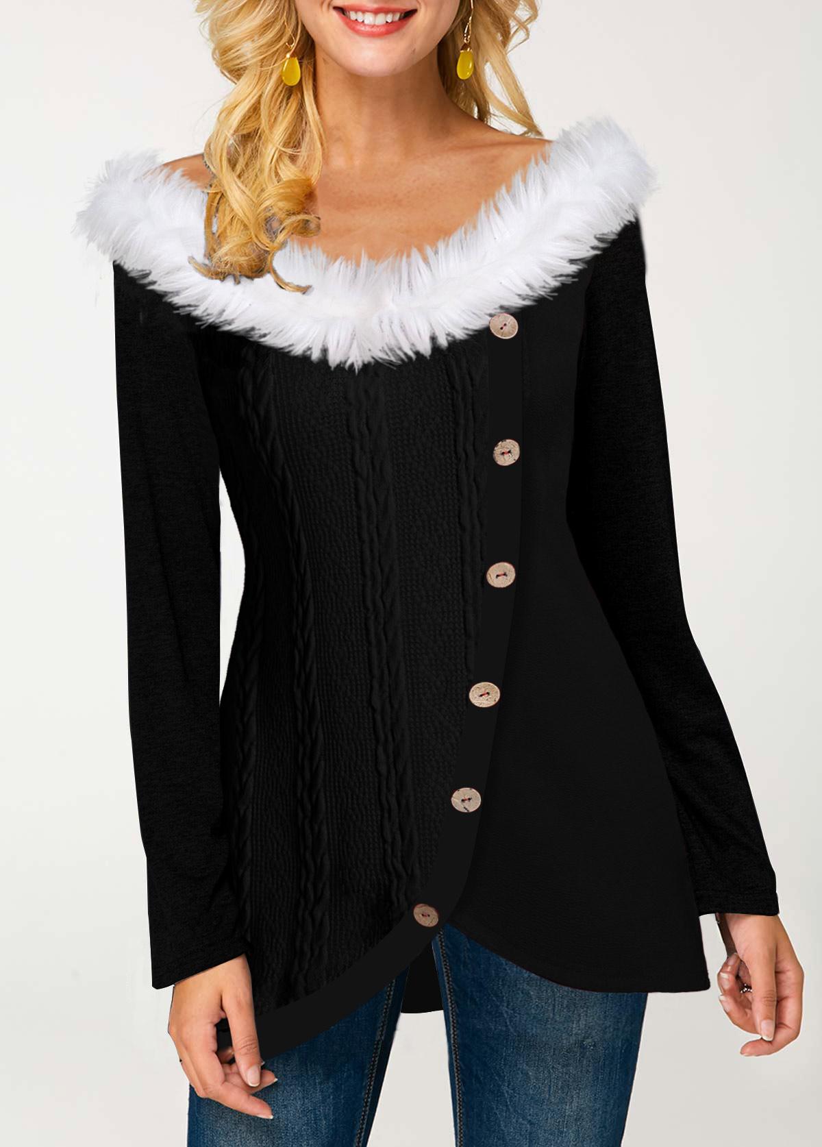 Inclined Button Fur Collar Tulip Hem T Shirt