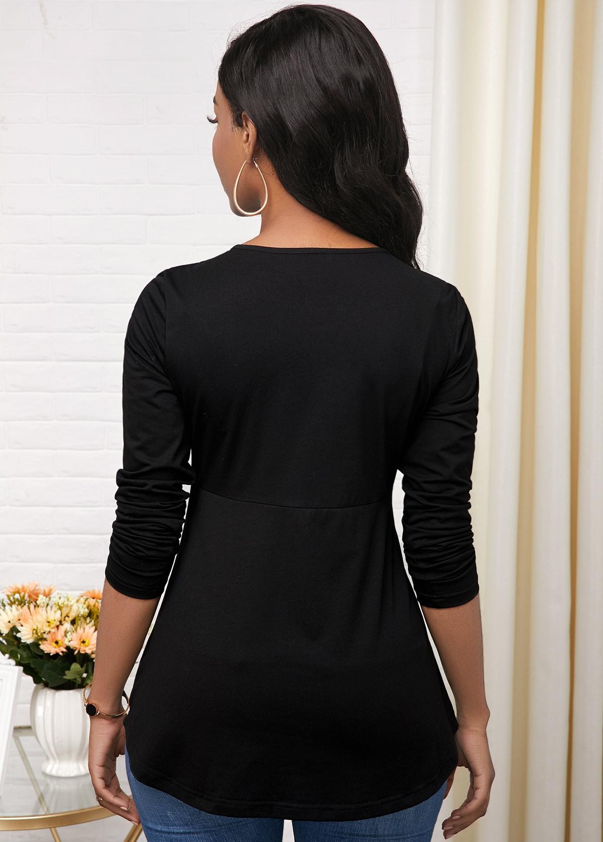 Black Criss Cross Neck Long Sleeve T Shirt
