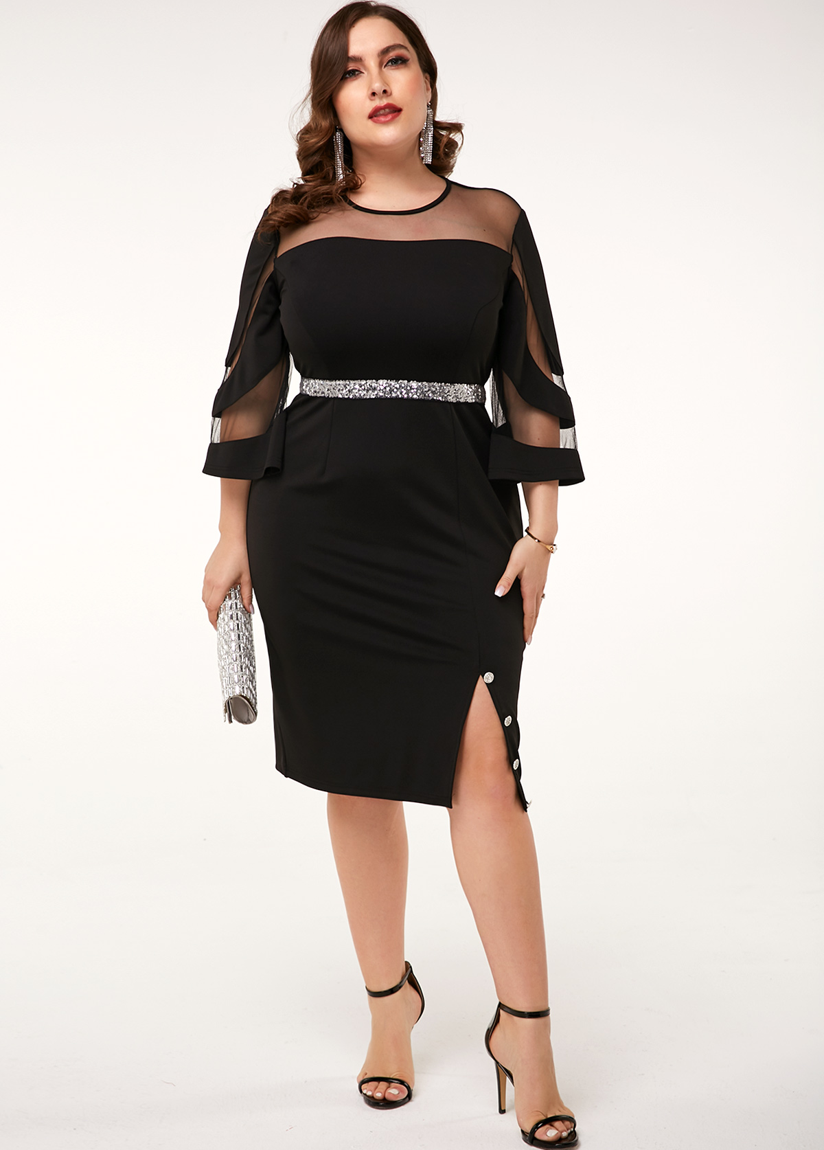 Side Slit Mesh Patchwork Plus Size Black Dress