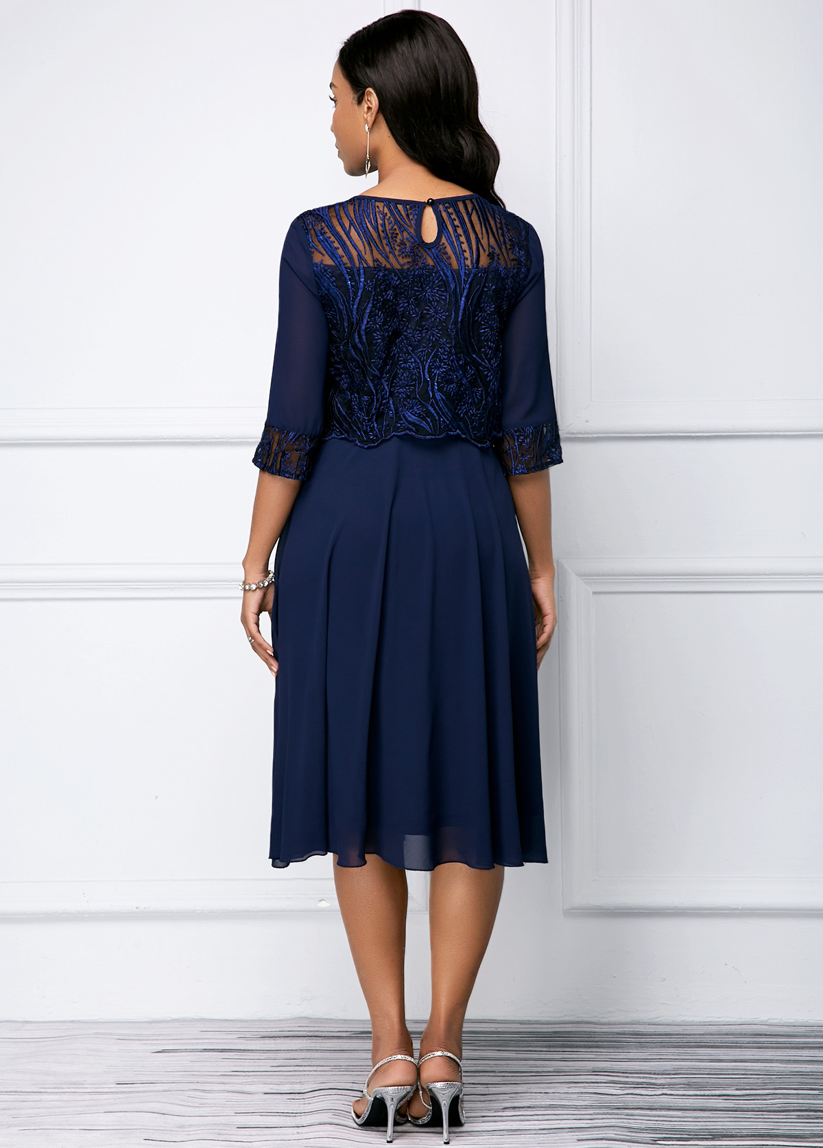 Navy Blue Lace Panel Round Neck Dress