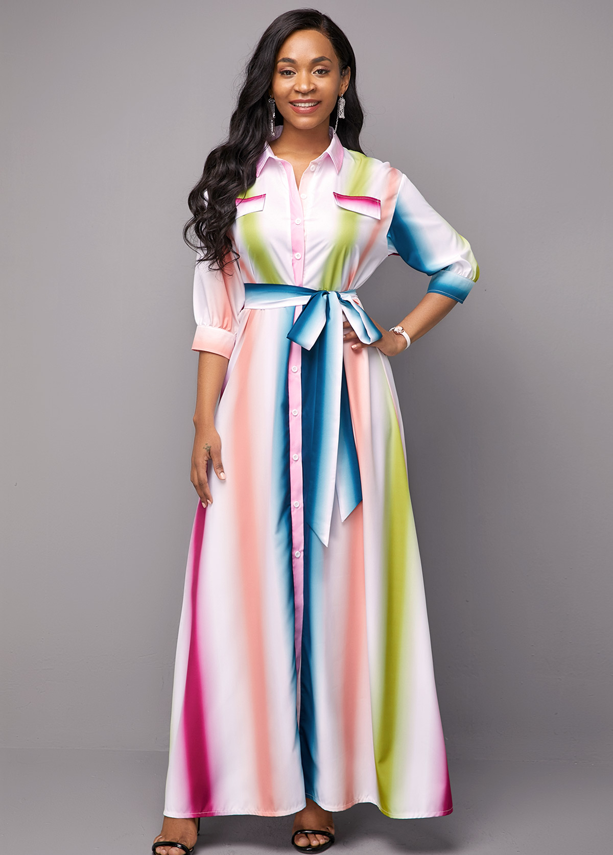 Multi Color Three Quarter Sleeve Stripe Print Dress