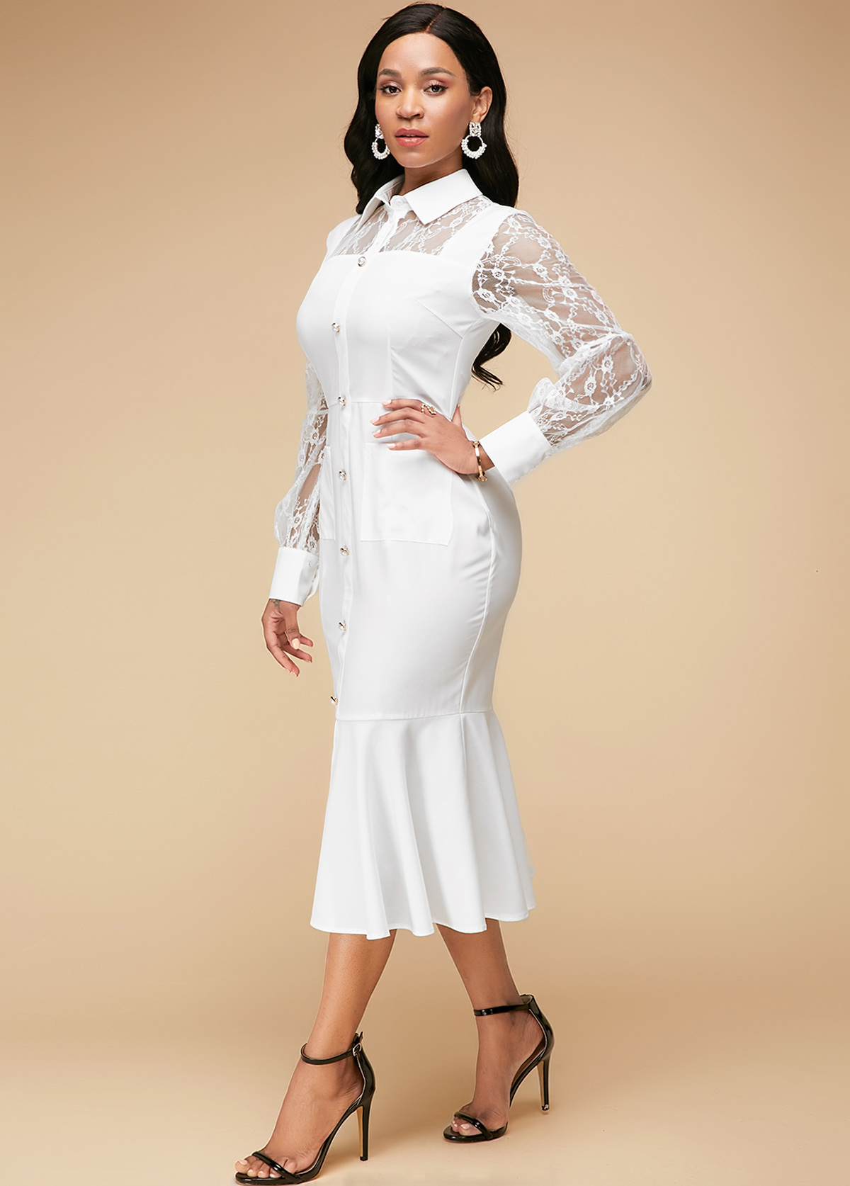 Ruffle Hem White Lace Panel Dress