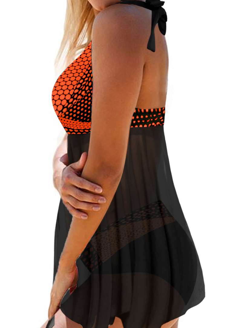 Dot Print Asymmetric Hem Halter Neck Swimdress and Panty
