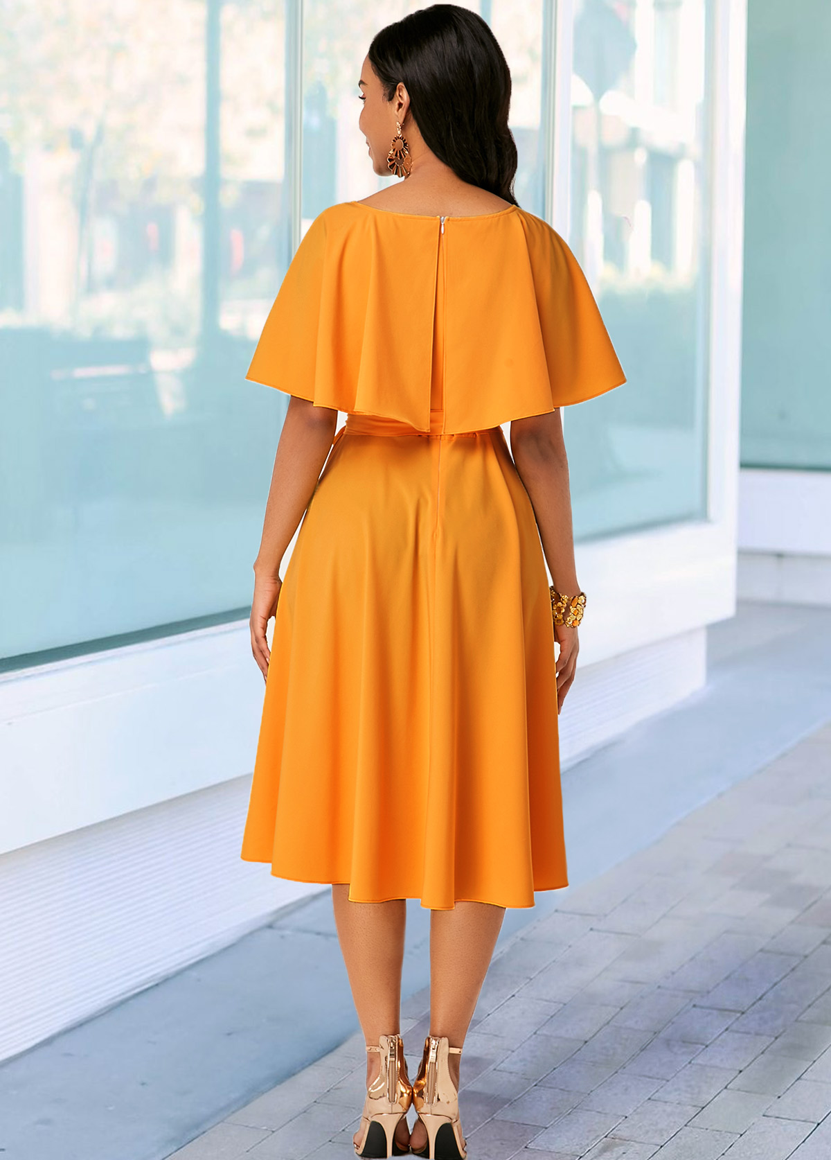 Button Detail Ginger Belted Round Neck Dress