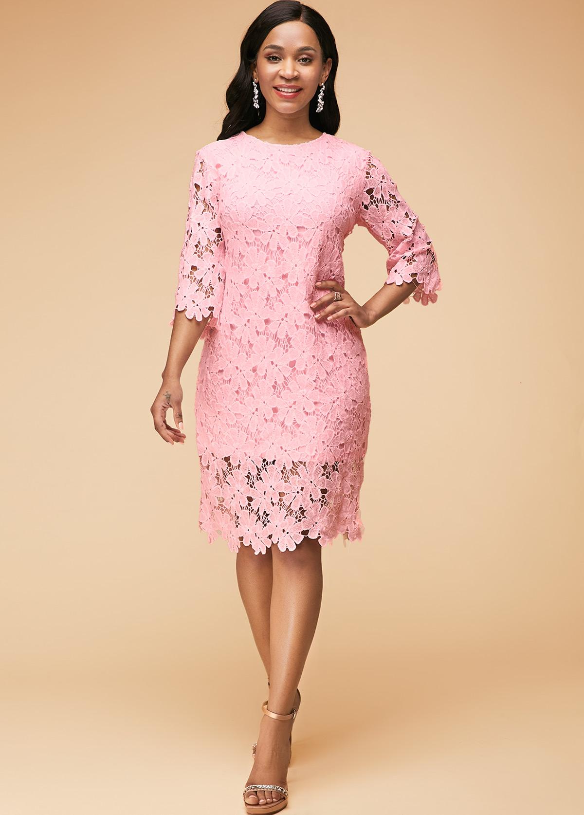 Lace Panel Round Neck Light Pink Dress