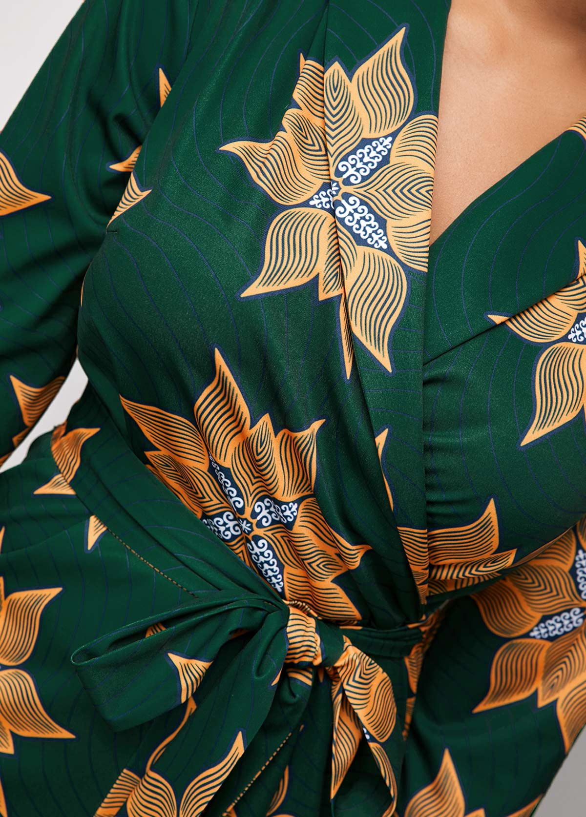 Tribal Print Side Pocket Belted Jumpsuit