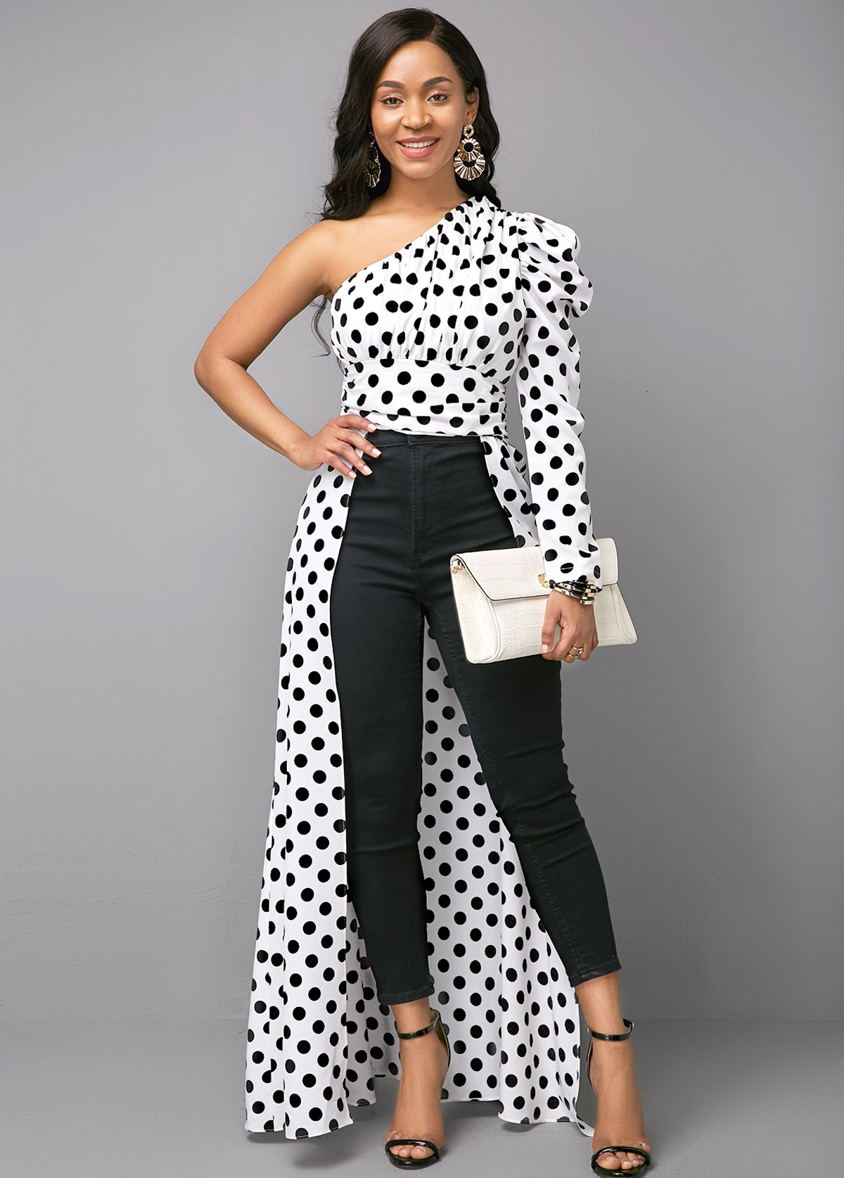 One Shoulder Polka Dot Print Color Block Blouse