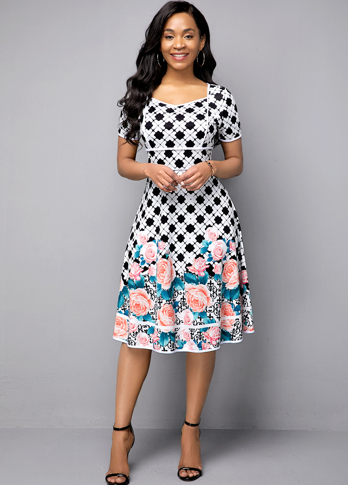 Short Sleeve Flower Print High Waist Dress