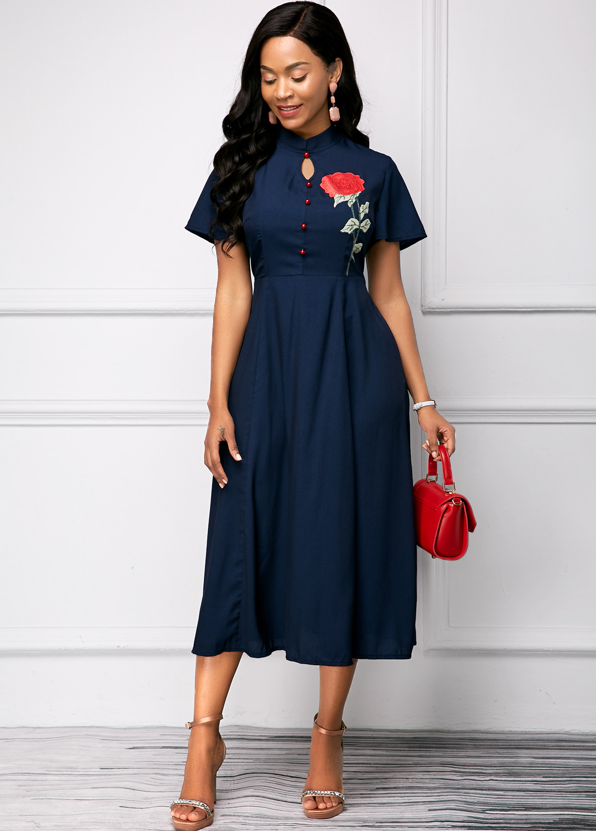 Flower Print Navy Blue Mandarin Collar Short Sleeve Dress