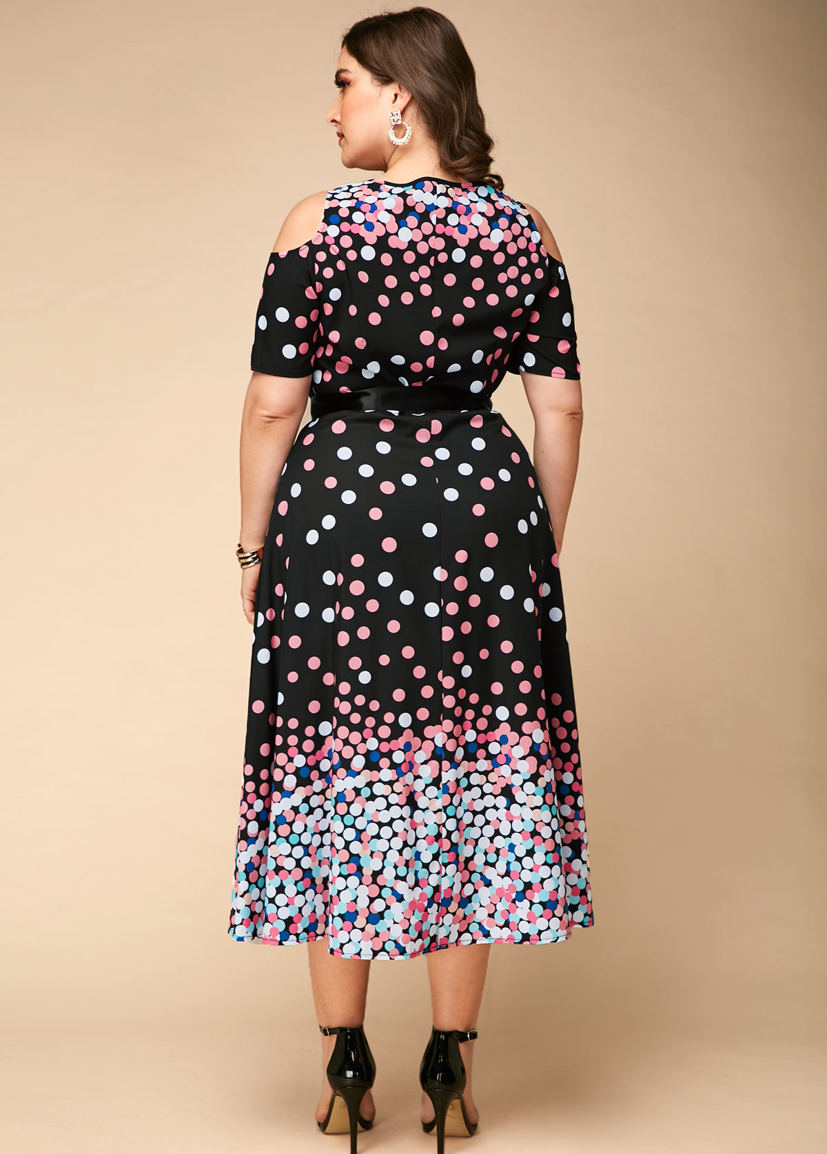 Plus Size Polka Dot Print Cold Shoulder Dress