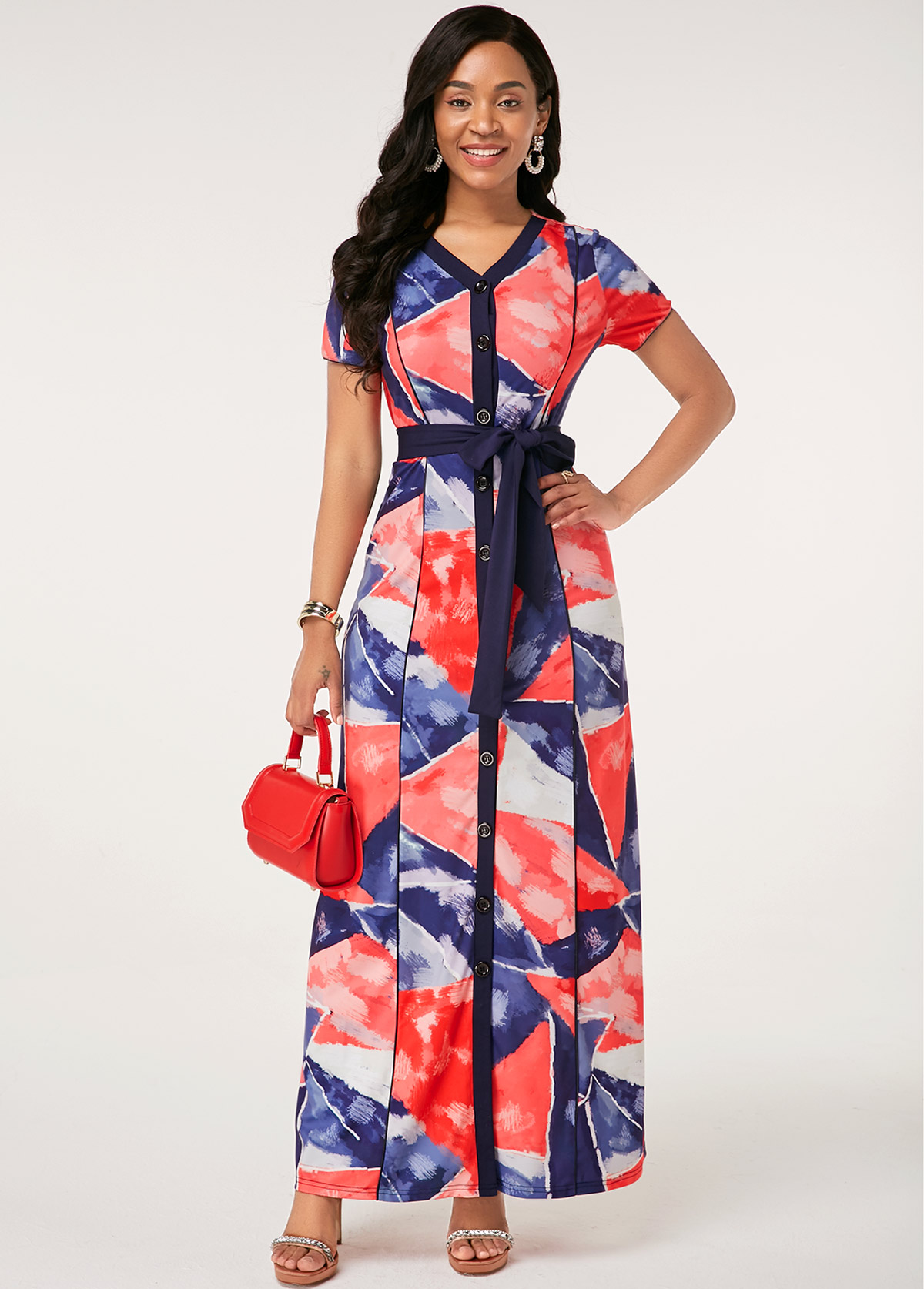Printed Button Up Belted Short Sleeve Dress