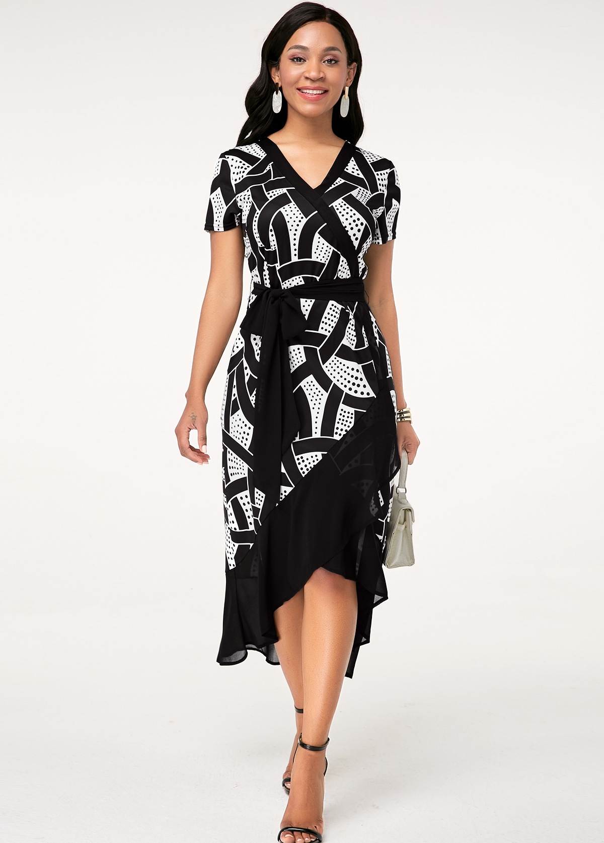 Short Sleeve Printed V Neck Asymmetric Hem Dress