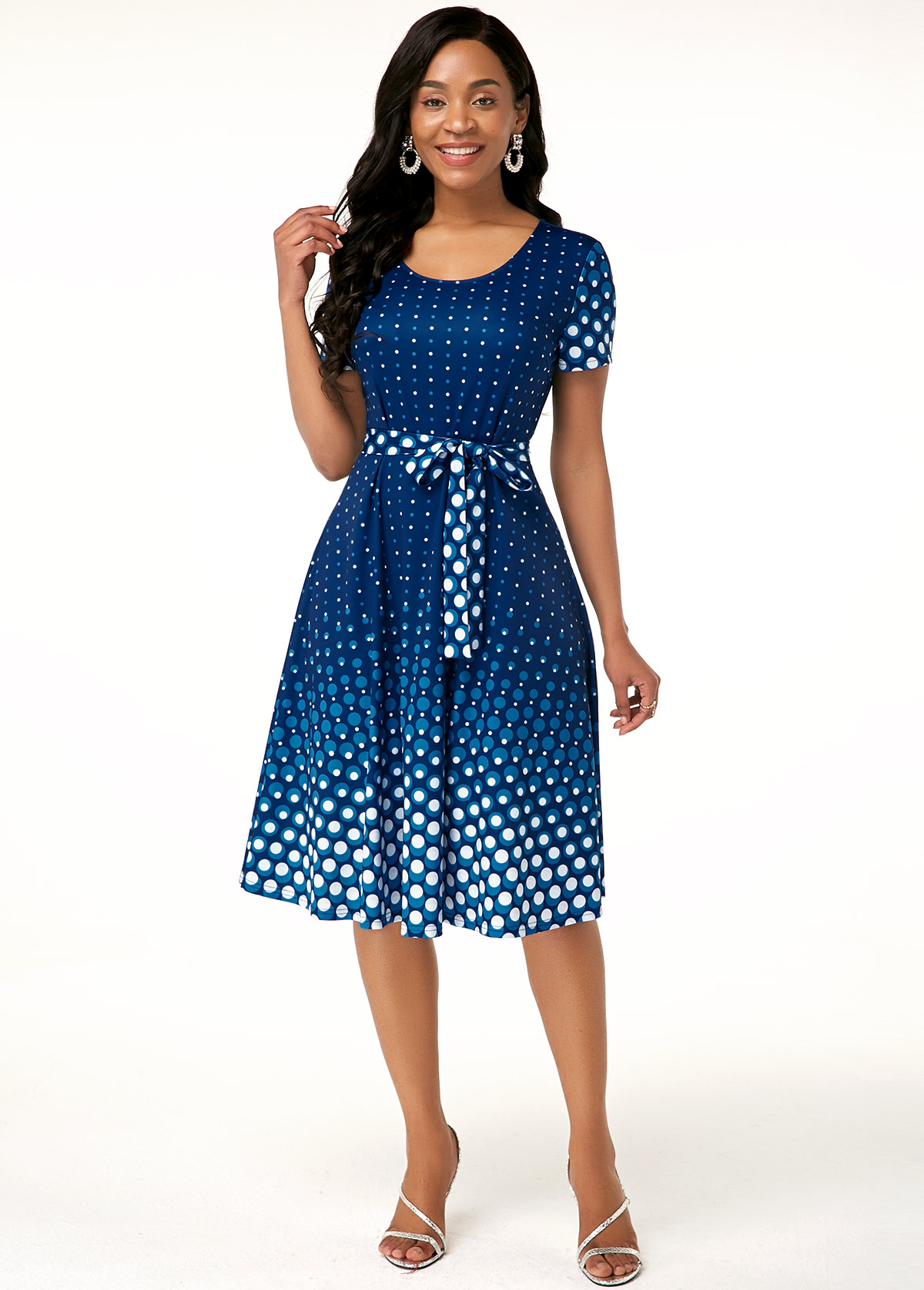 Belted Polka Dot Print Short Sleeve Dress