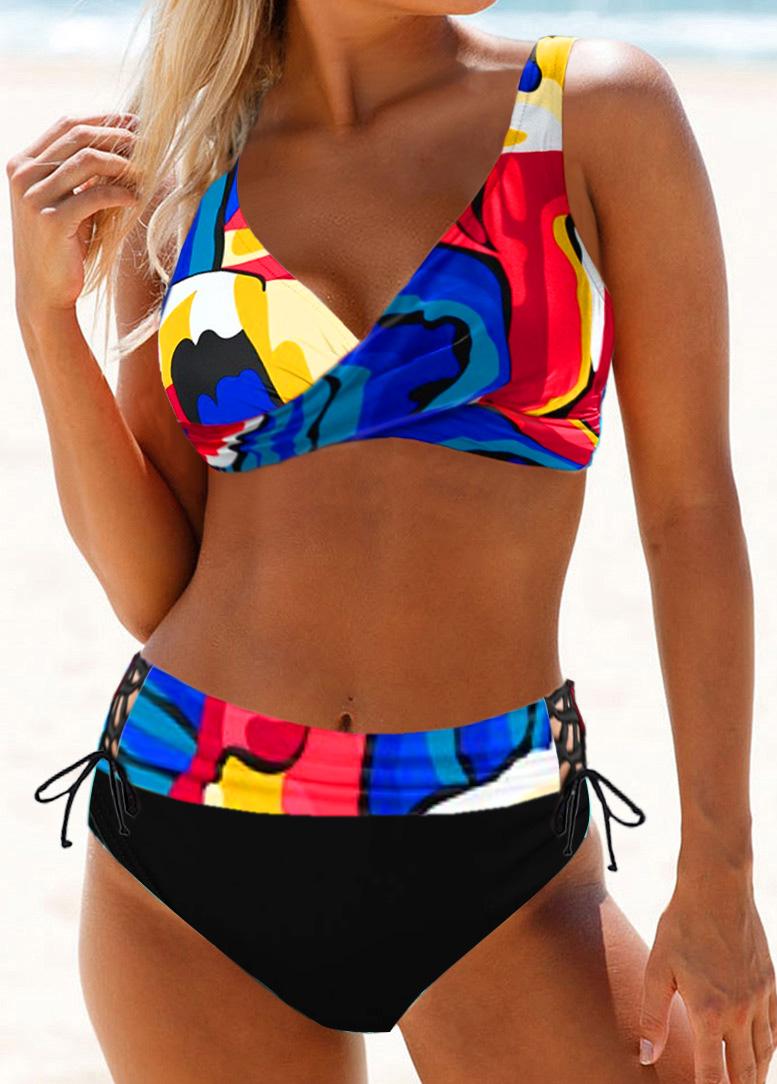 Drawstring Waist Printed Lace Up Bikini Set
