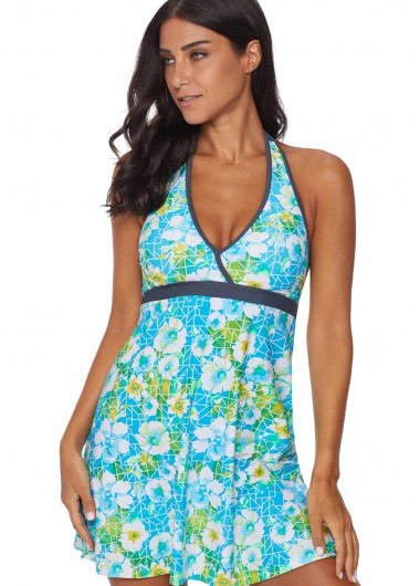 Women'S Light Blue Floral Print Halter Neck Tankini Swimsuit V Neck Sleeveless Two Piece Padded Wire Freee Bathing Suit By Rosewe - L