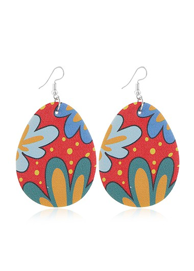 Mother's Day Gifts Plastic Multi Color Flower Print Earring Set - One Size