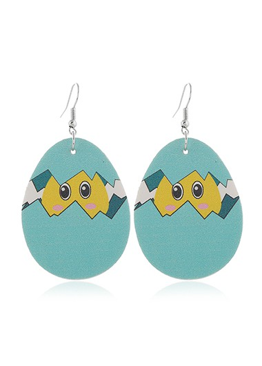 Mother's Day Gifts Blue Plastic Animal Print Earring Set - One Size