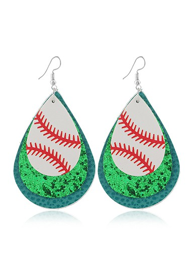 Mother's Day Gifts Sequin Detail Green Layered Earring Set - One Size