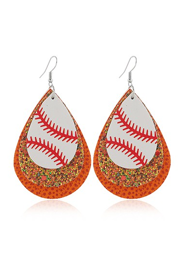 Mother's Day Gifts Orange Sequin Detail Layered Earring Set - One Size