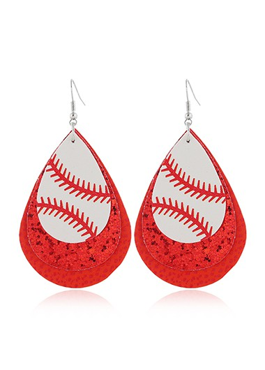 Mother's Day Gifts Sequin Detail Red Layered Earring Set - One Size