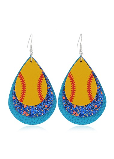 Mother's Day Gifts Blue Plastic Sequin Detail Earring Set - One Size