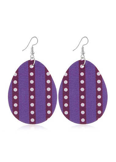Mother's Day Gifts Easter Polka Dot Purple Plastic Earring Set - One Size