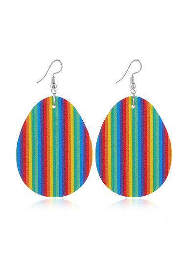 Mother's Day Gifts Easter Rainbow Stripe Plastic Earring Set - One Size