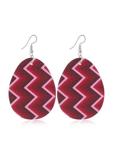 Mother's Day Gifts Plastic Geometric Print Rose Red Earring Set - One Size