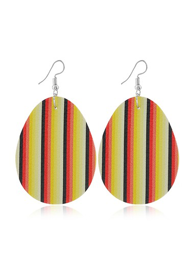 Mother's Day Gifts Plastic Easter Stripe Print Earring Set - One Size