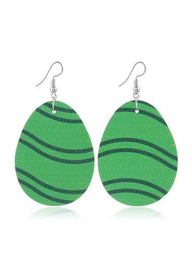 Mother's Day Gifts Plastic Green Curve Design Earring Set - One Size