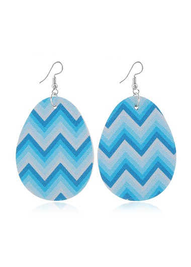 Mother's Day Gifts Blue Geometric Print Plastic Earring Set - One Size