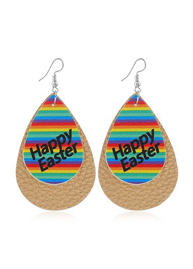 Mother's Day Gifts Rainbow Print Multi Color Plastic Earring Set - One Size