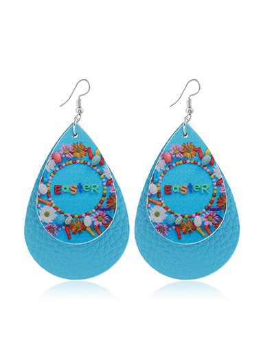 Mother's Day Gifts Blue Layered Flower Print Earring Set - One Size