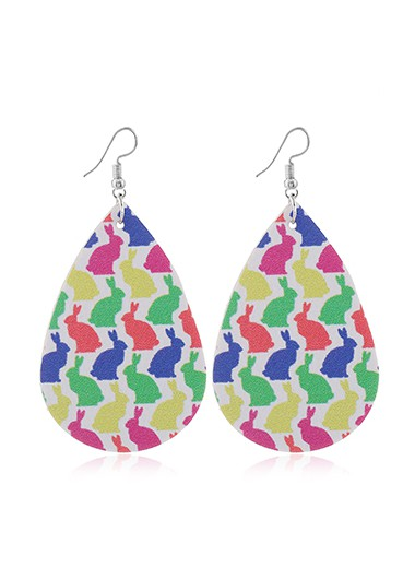 Mother's Day Gifts Multi Color Rabbit Print Faux Leather Earrings - One Size