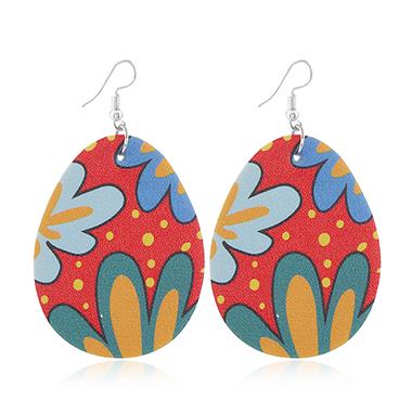 Plastic Multi Color Flower Print Earring Set