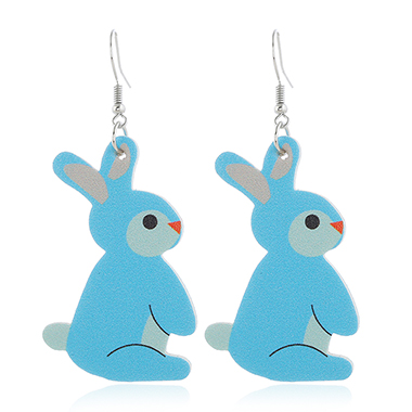 Blue Plastic Rabbit Design Earring Set