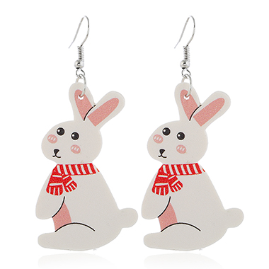 White Plastic Rabbit Design Earring Set