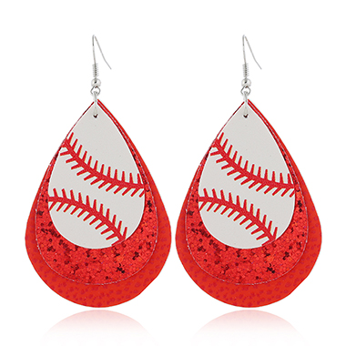 Sequin Detail Red Layered Earring Set