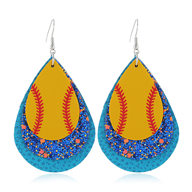 Blue Plastic Sequin Detail Earring Set