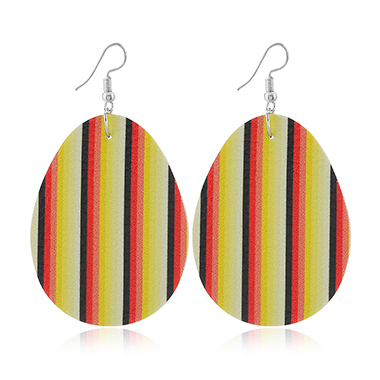 Plastic Easter Stripe Print Earring Set
