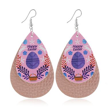 Light Pink Plastic Flower Print Earring Set