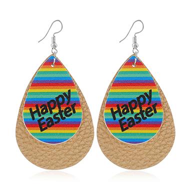 Rainbow Print Multi Color Plastic Earring Set
