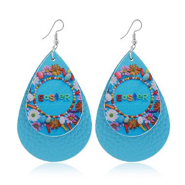Blue Layered Flower Print Earring Set