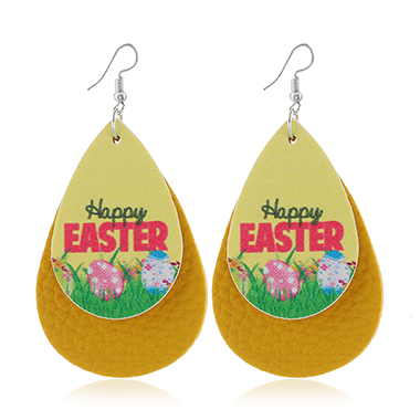 Yellow Layered Flower Print Earring Set
