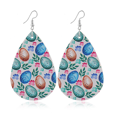 Multi Color Flower Print Faux Leather Earrings