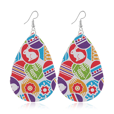 Faux Leather Easter Day Printed Earrings